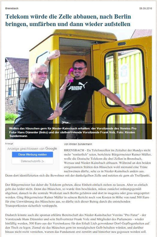 Pressebericht zum Telefonhäuschen in Nieder-Kainsbach